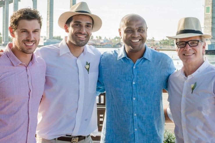 Bruninho, Thiago Alves, Anderson e Bernardinho também foram ao casamento de Amanda (Foto: Crespo Nascimento/Divulgação)